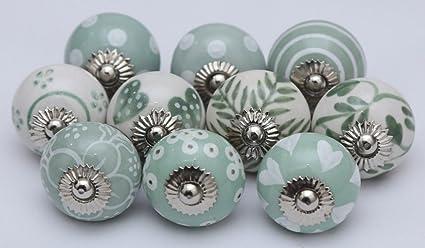 Manopole Indian lotto di 10 Bage verde e bianco pomelli in ceramica ...