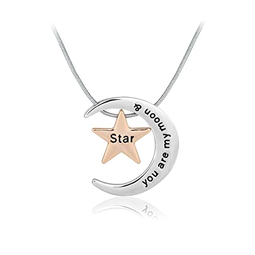 Amazon mothers day gift women moon star pendant necklace mothers day gift women moon star pendant necklace engraved letter you are my moon aloadofball Image collections