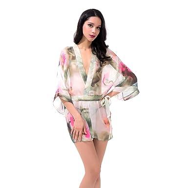 Women s Sexy Chinese Style Blossoms Pajamas Babydoll Robe Lingerie Sleepwear  Nightwear Nightwear (No.1 c8daab11c