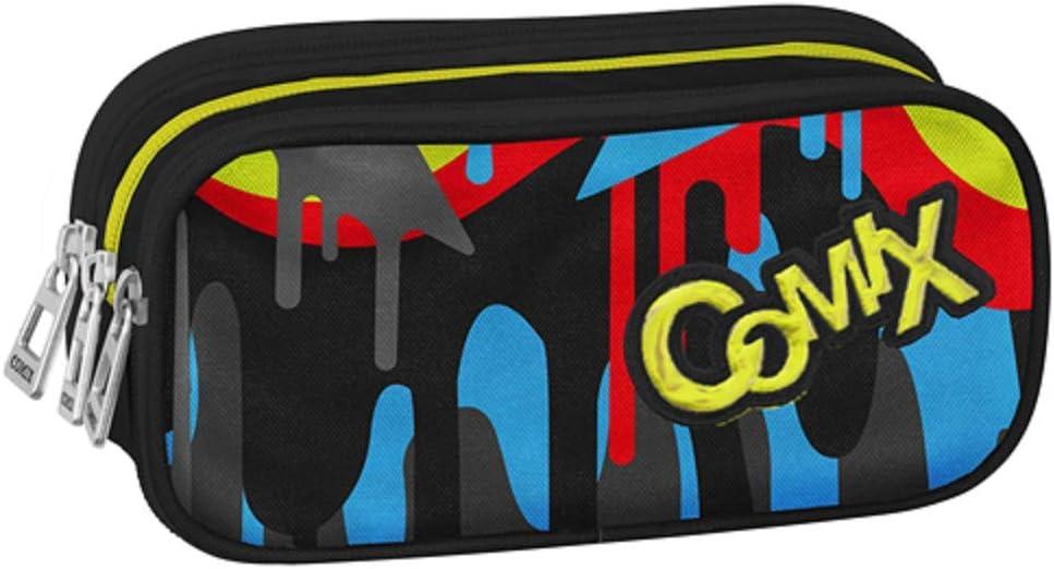 Estuche Comix Flash organizado Negro portalápices vacío 3 Cremalleras 22 x 10 x 7 cm: Amazon.es: Equipaje