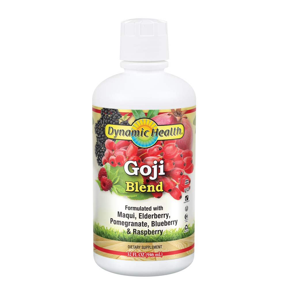 Dynamic Health goji Blend With Maqui, Elderberry, Pomegranate, Raspberry Blueberry vegetarian, Gluten-free, Bpa-free 32oz, 32 Serv