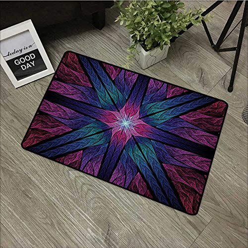(Moses Whitehead Mats Soft on Kitty Paws Fractal,Psychedelic Colorful Sacred Symmetrical Stained Glass Figure Vibrant Artsy Design,Plum Indigo,for Kitchen Dining Living Hallway Bathroom 24