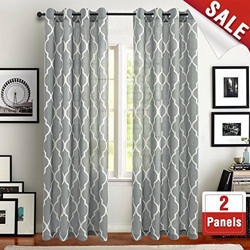 Cheap  jinchan Moroccan Tile Design Linen Curtain Textured Lattice Grommet Top Window Panels/Drapes..