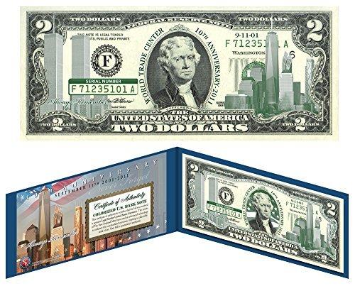 WORLD TRADE CENTER 9/11 * 10th Anniversary * Colorized $2 US Bill -SPECIAL...