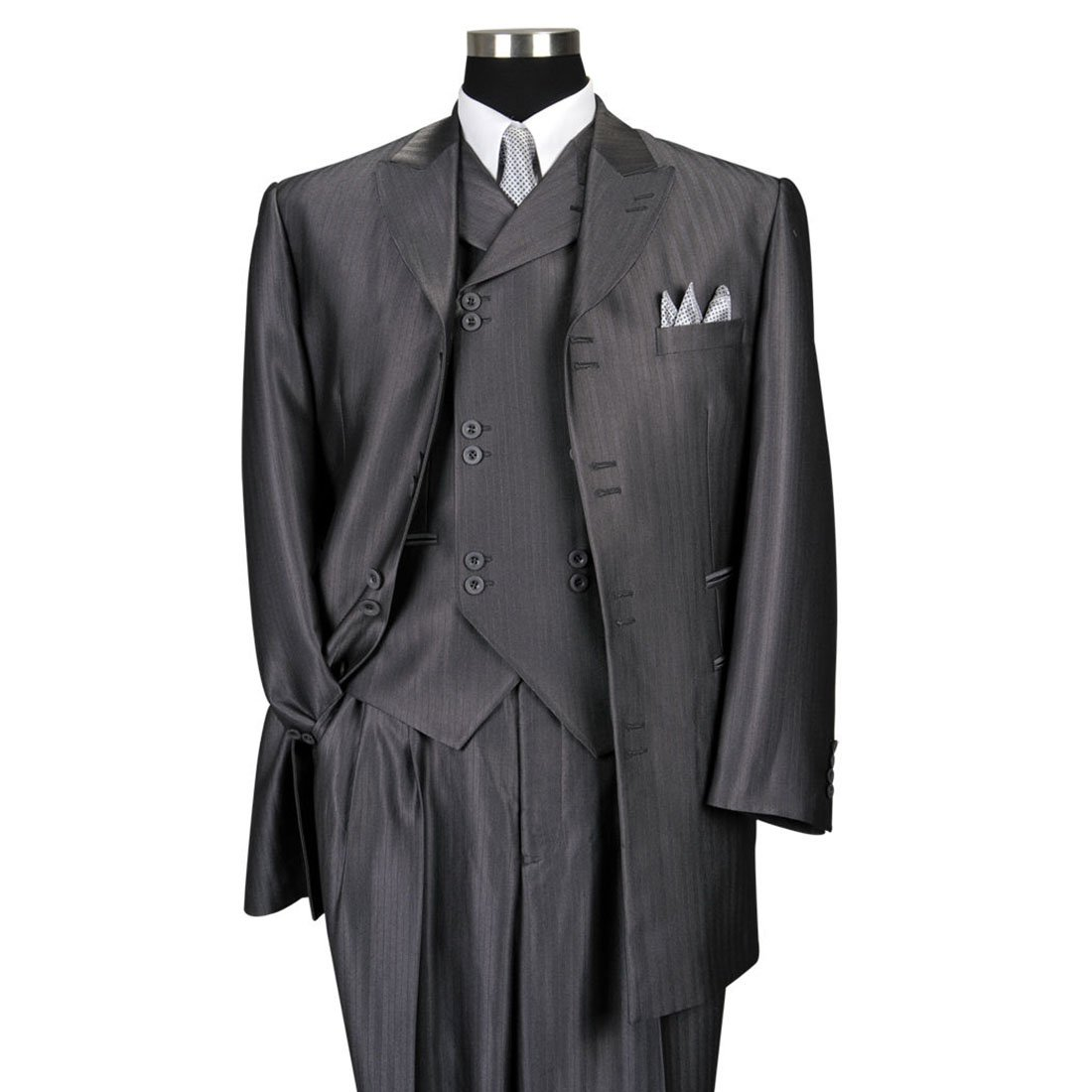 Milano Moda Men's 3 Piece Set Luxurious Wool Feel Suit HL5264 New York Brand