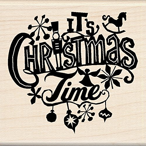 Inkadinkado Christmas Mounted Rubber Stamp 2.75 by 7.5-Inch Its Christmas Time