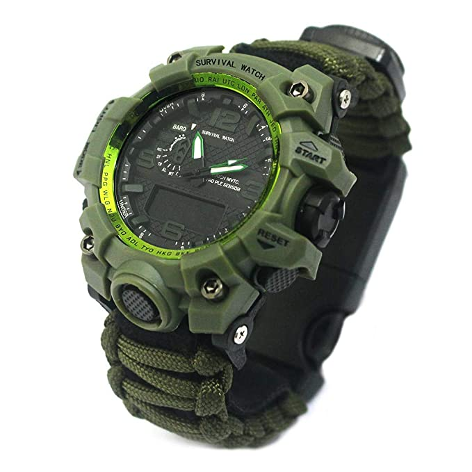 Amazon.com: Outdoor Survival Watch-Vovomay Bracelet with Flint Fire Starter Compass Whistle (D): Cell Phones & Accessories