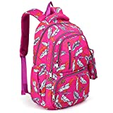 UTO Fashion Backpack Waterproof Nylon Rucksack School College Bookbag Leaves Pattern Shoulder Purse with Pencil Bag Pink