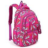 UTO Fashion Backpack Waterproof Nylon Rucksack School College Bookbag Leaves Pattern Shoulder Purse with Pencil Bag Pink