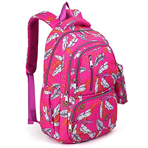 UTO Fashion Backpack Waterproof Nylon Rucksack School College Bookbag Leaves Pattern Shoulder Purse with Pencil Bag Pink by UTO