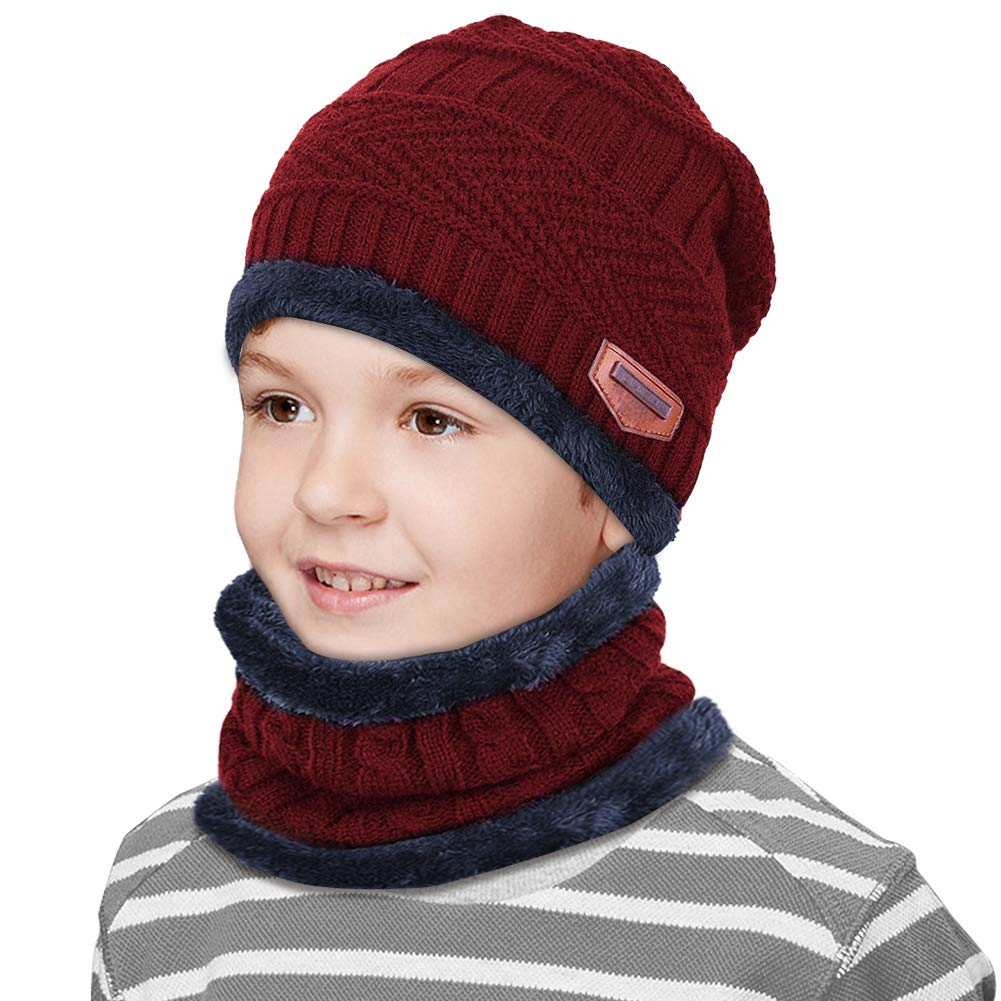 Kids Winter Snow Knitted Beanie Hat Circle Scarf Set Slouchy Warm Outdoor Sports Hat Sets (Grey)