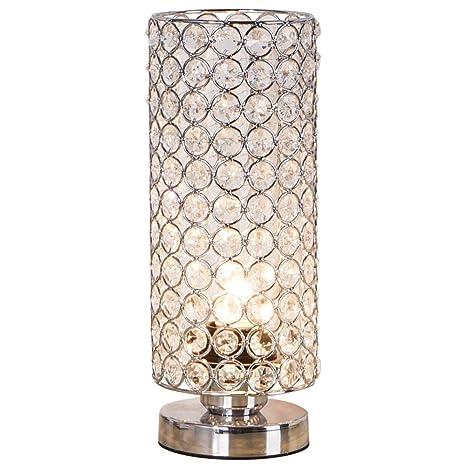Zeefo Lámpara de mesa de cristal, moderna y plateada ...