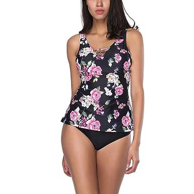 a0da60203f YUMDO Women's Double up Floral Printed Swimsuits Two Pieces V Neck Tankini  Bikini Set Floral Black