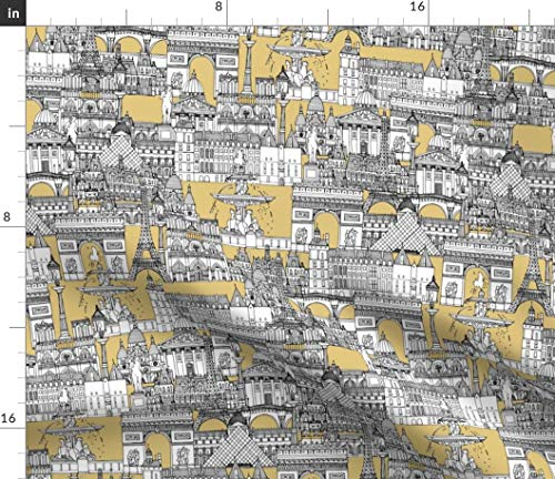 Paris Toile Fabric - Parisian Home Decor Gold Architecture Paris French Illustration Grey Gray Print on Fabric by the Yard - Petal Signature Cotton for Sewing Quilting Apparel Crafts Decor