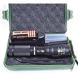 Lampes torches Clode 3000 Lumen X800 zoomables XML T6 LED torche tactique + 26650 Batterie + Chargeur + Case