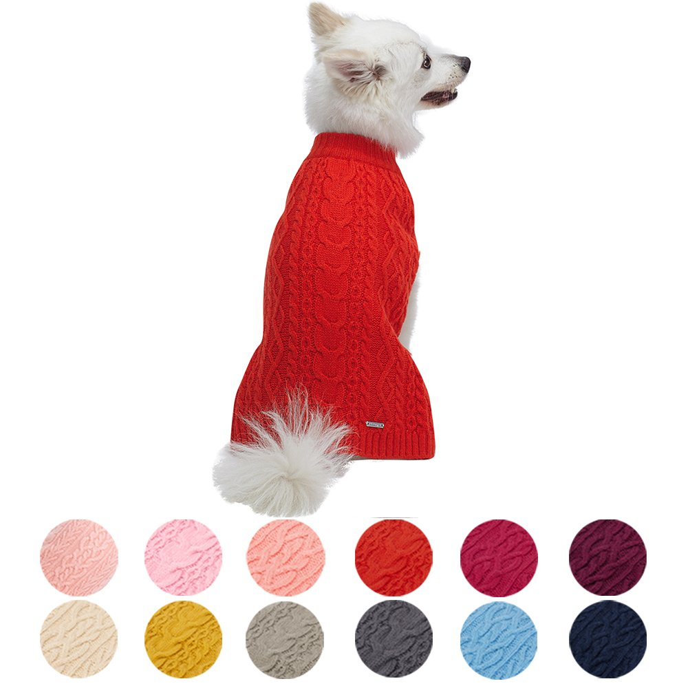 Blueberry Pet 13 Colors Classic Wool Blend Cable Knit Pullover Dog Sweater in Tomato, Back Length 10'', Pack of 1 Clothes for Dogs