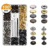 Warmtong 100 Set Snap Fasteners Kit Press Studs with 4 Pieces Button Tools for Leather Craft Repairing , Diameter of 12.5 mm, Gunmetal, Bronze, Silve, Golden.