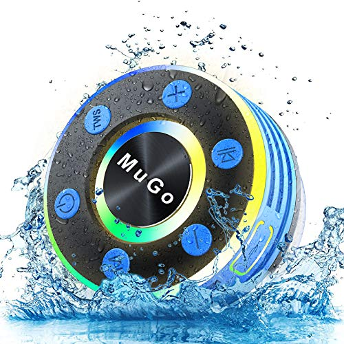 MuGo Bluetooth Shower Speaker, IPX7 Waterproof Bluetooth Speaker with Suction Cup, Wireless Portable Shower Speaker Handsfree with Mic, 8H Playtime Stereo for Bathroom, FM Radio Light Show