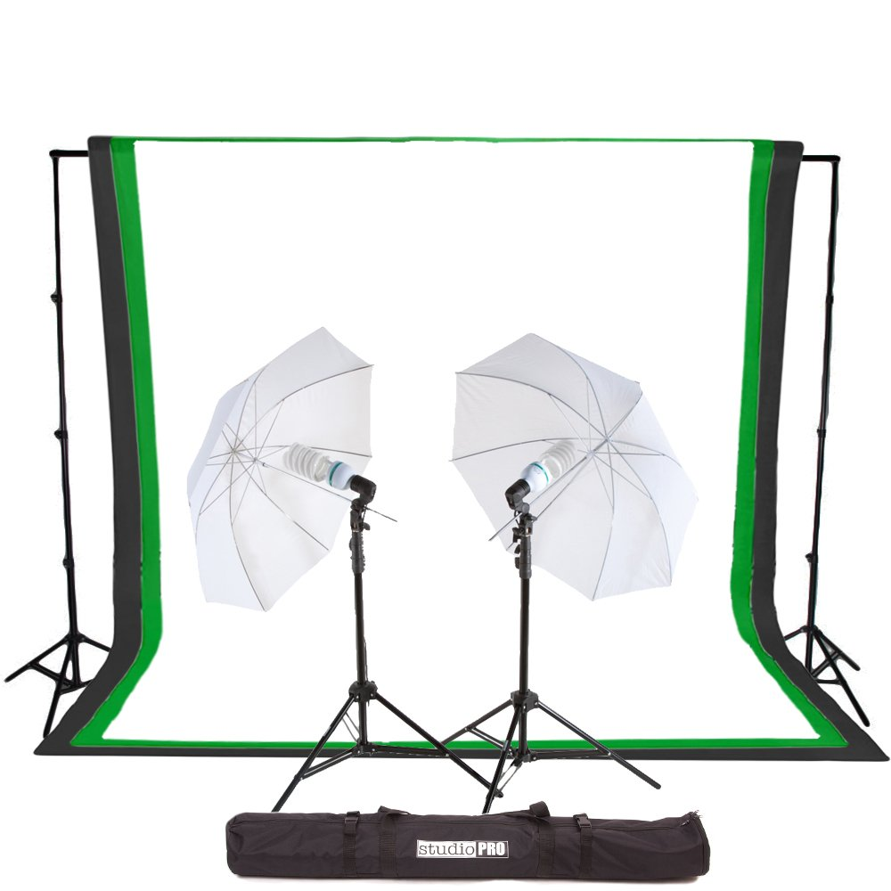 Fovitec StudioPRO 450 Watt Photography Light Photo & Video Studio Umbrella Continuous Lighting Kit, 6FT. x 9FT. Black, White & Green Chroma key Photo Backdrops Includes Background Support Kit