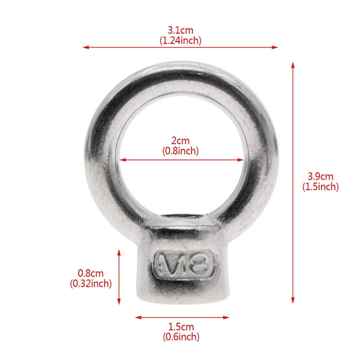 Saim M8 Innengewinde Ring anheben Ringschraube Edelstahlschraube Schraube 5 St/ücke
