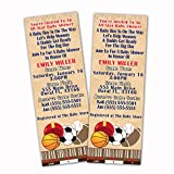 30 Invitations Baby Boy Shower Sports Baseball Baseball American Football Soccer Personalized Tickets + White Envelopes