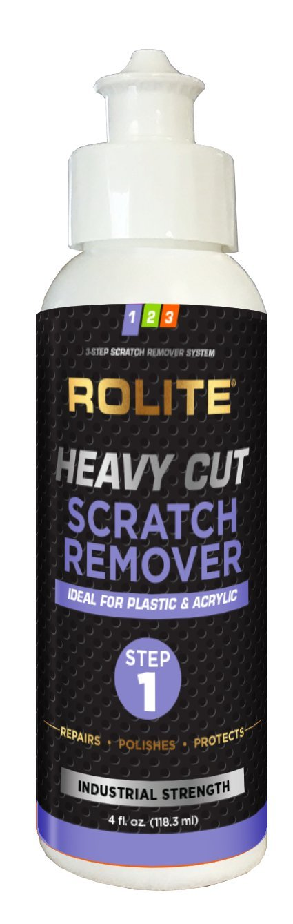 Rolite Heavy Cut Scratch Remover for Plastic & Acrylic Surfaces including Marine Strataglass & Eisenglass, Headlights, Aquariums, Retail Displays and Other Clear Plastic Surfaces (4 fl. oz.)