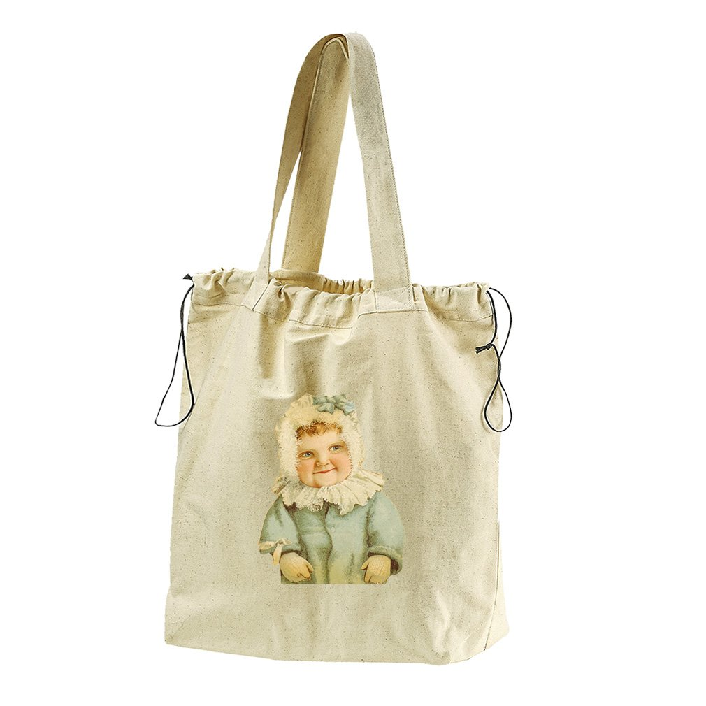 Baby Girl In Blue Coat Canvas Drawstring Beach Tote Bag