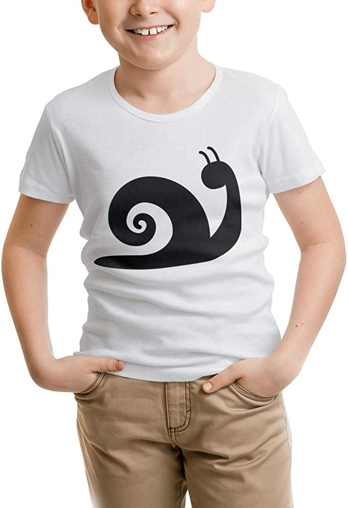 Websi Wihey Simple Flat Black Snail Logo Fashion Boys t Shirts Teenagers