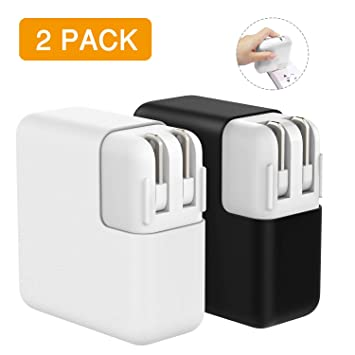 MoKo Funda Protetora Compatible con MacBook Power Adaptador, [2 PZS] 45W MagSafe 2 Cargador de Silicona Case para MacBook Air 13-Inch(A1466/A1369) & ...