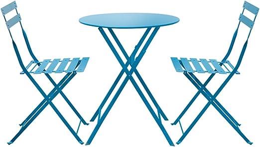 ZWD Mesas y Sillas, 3 Piezas de Metal Plegables para jardín Jardín al Aire Libre Patio Muebles de balcón Mesa de té pequeña combinación 1 Mesa y 2 sillas   5 Colores ...