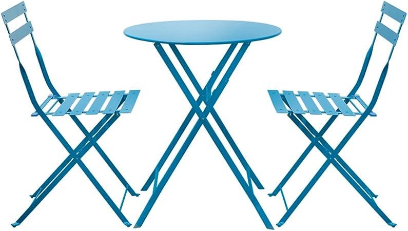 ZWD Mesas y Sillas, 3 Piezas de Metal Plegables para jardín Jardín al Aire Libre Patio Muebles de balcón Mesa de té pequeña combinación 1 Mesa y 2 sillas | 5 Colores Mueble: Amazon.es: Hogar