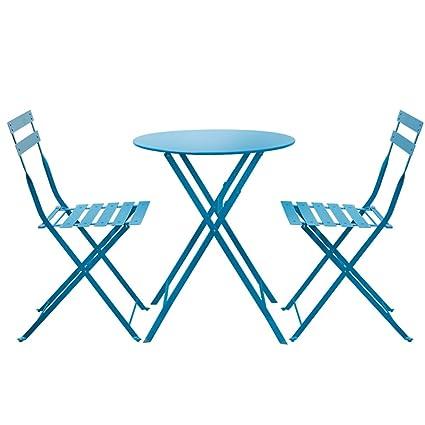 Mesa Mesas y Sillas, 3 Piezas de Metal Plegables para jardín ...