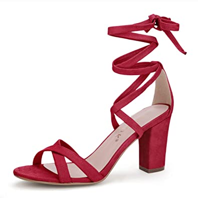 14e517c9363 Allegra K Women s Lace-up Heeled Red Sandals - 4.5 ...
