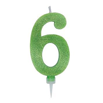 5, Fucsia big-party Candeline Numerali Glitter Vari Colori h 15 cm