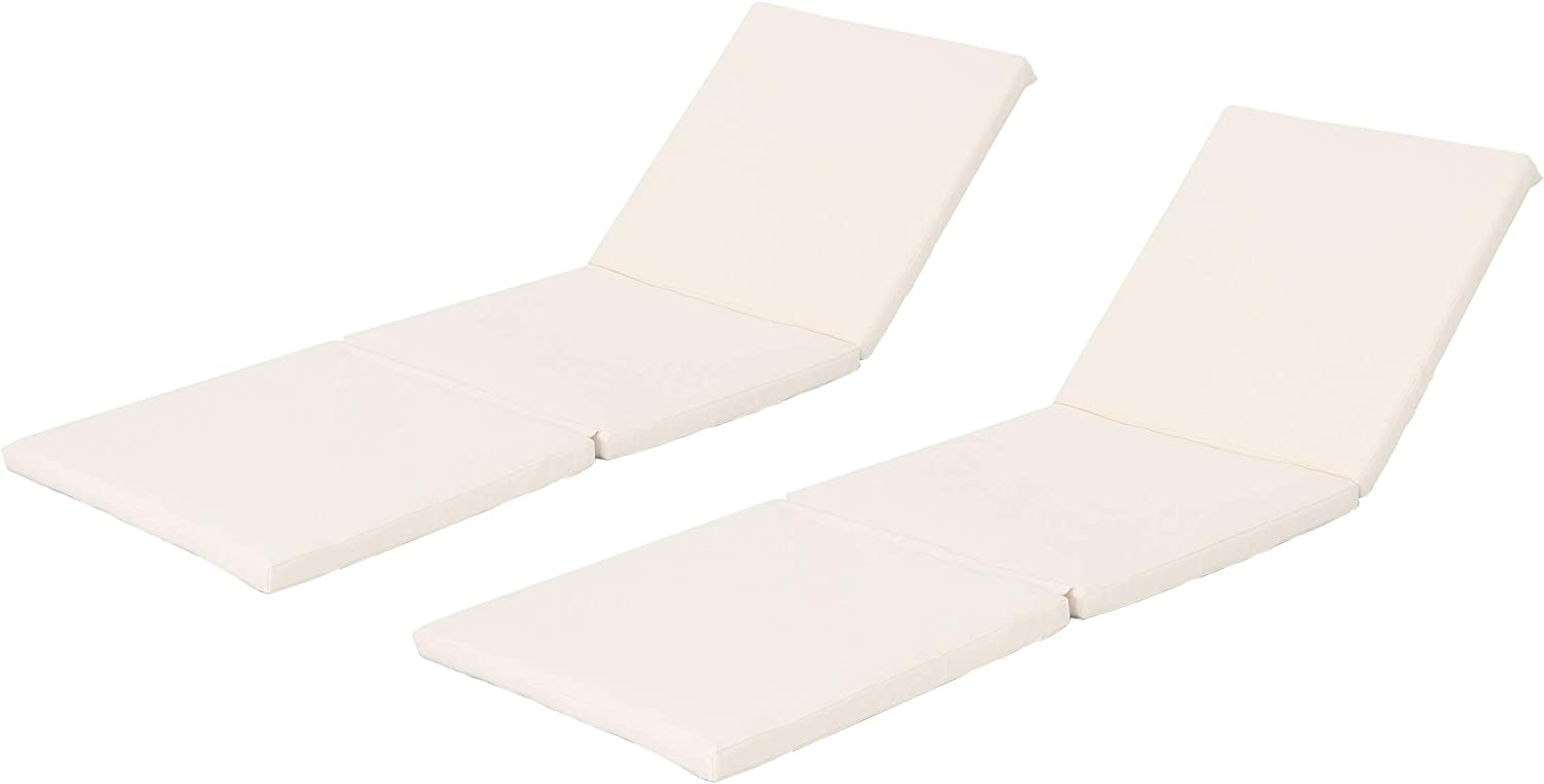 Christopher Knight Home 303999 Jamaica Outdoor Water Resistant Chaise Lounge Cushions, 2-Pcs Set, Cream