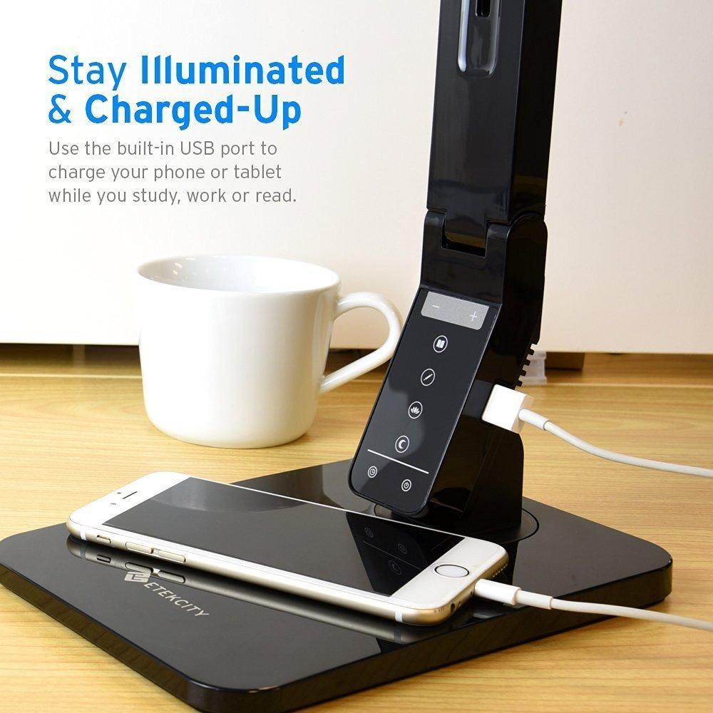 Etekcity LED Lampe de Bureau Chargeur USB Minuterie de 60 Minutes Noir 5 Niveaux dIntensit/é R/églable