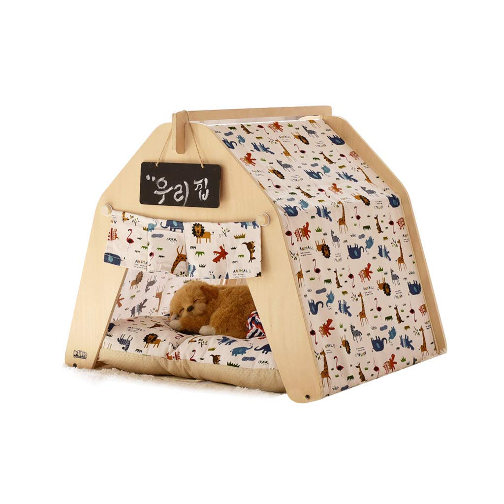 53x58x50cm Pet Bed Tent Wooden Dog House Pet Bed Cat Bed Yurt Washable Kennel Cat Litter Small (Size   53x58x50cm)