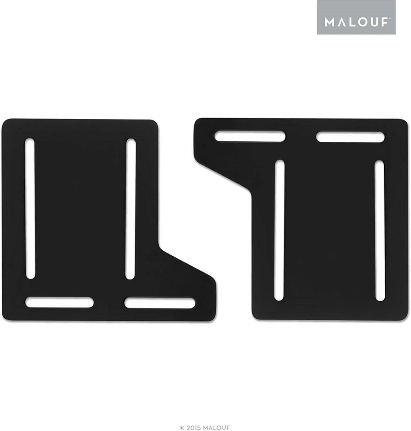 MALOUF STRUCTURES Queen Bed Frame Headboard Bracket Modification Plate Modi, Set of 2, Black
