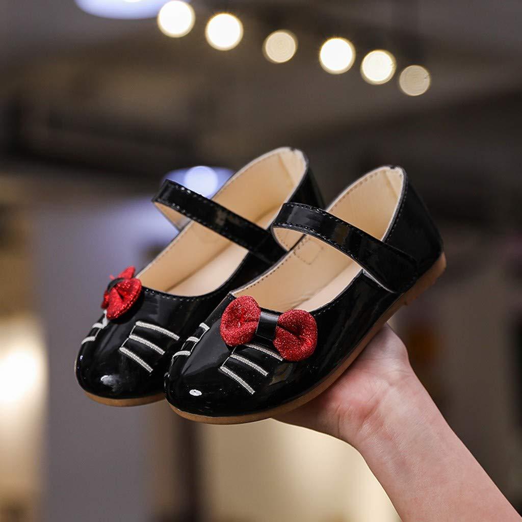 Toddler Kids Mary-Jane Shoes Cat Cartoon Bowknot Princess Dance Single Casual Shoes Memela