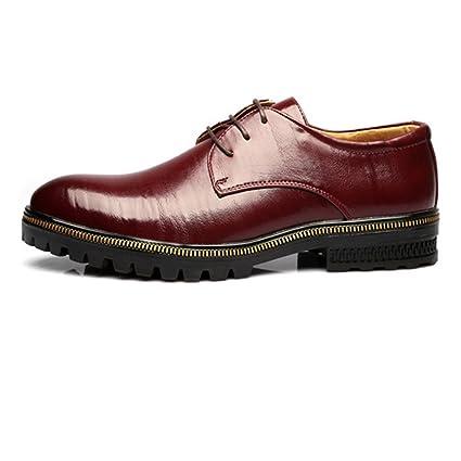 31e8bcfc Hilotu-zapatos de vestir para hombres Zapato Oxford de Piel Genuina con  Cordones para Una