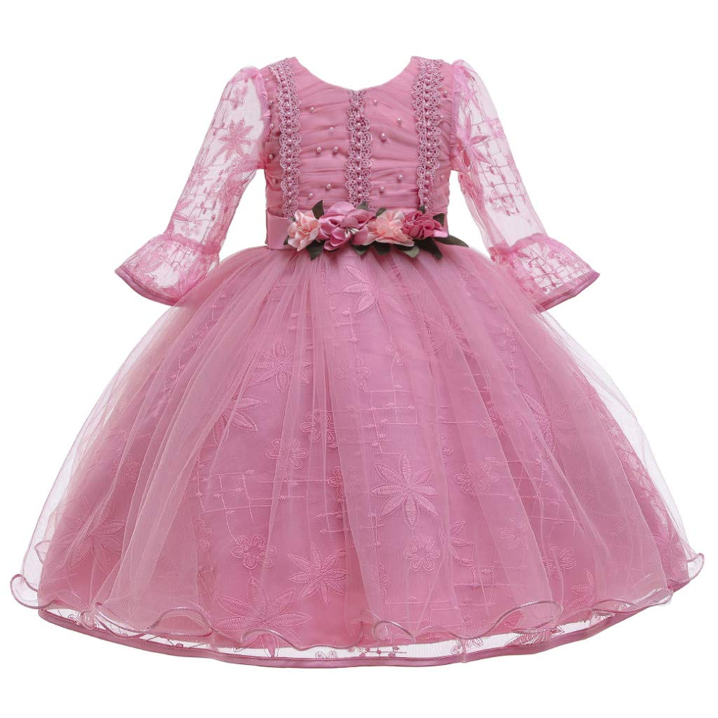 Children Girls Princess Dress Teens Vintage Tulle Dance Gown Lace Long Sleeves Elegant Party Evening Dresses (Age:11-12 Years, Hot Pink) by FDSD Baby Clothes
