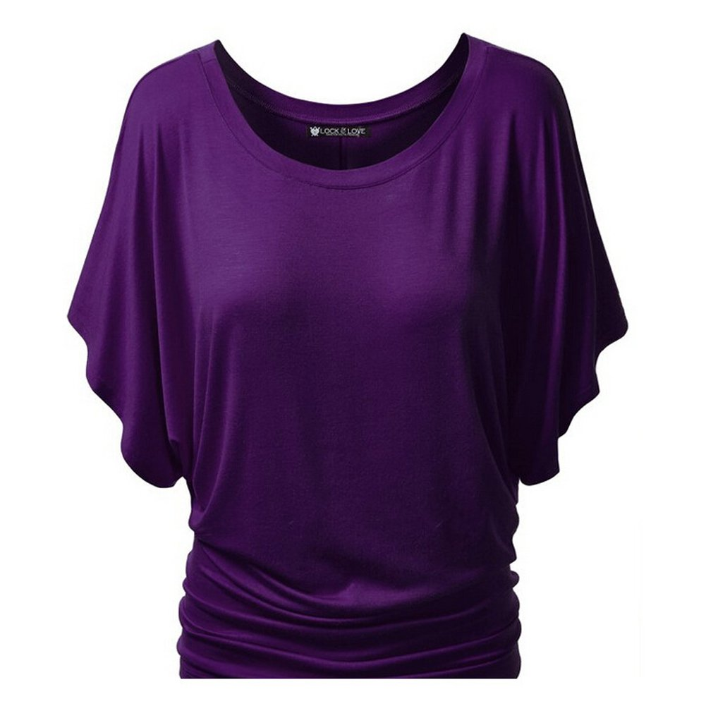 Purple YOU&ME Women's Summer Casual Short Sleeve Tshirt Solid Collect Waist Shirt tops