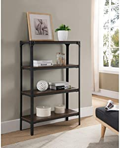 K and B Furniture Co Inc Antique Walnut Finish 4-Tier Bookcase