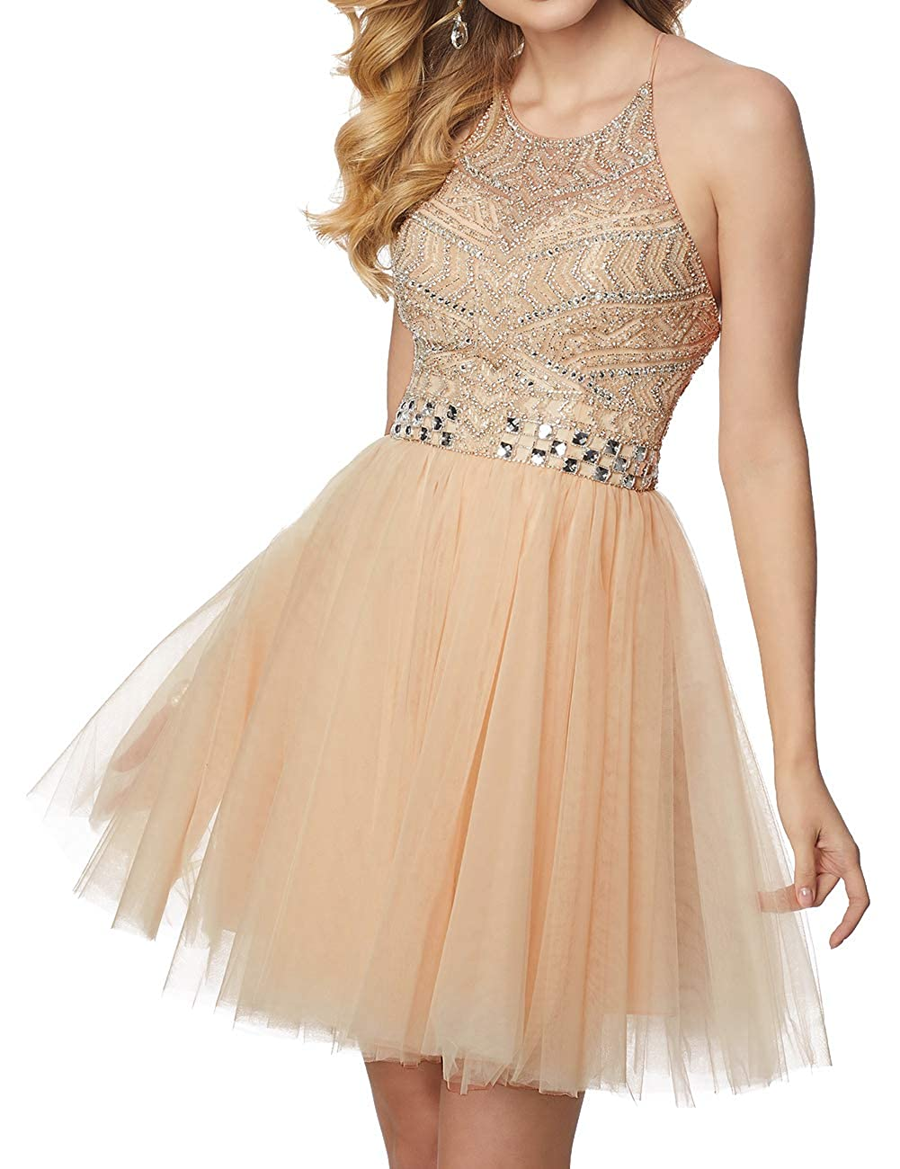 Champagne Short Homecoming Dresses Tulle Halter Cocktail Prom Gowns Beads Formal Evening Party Dress