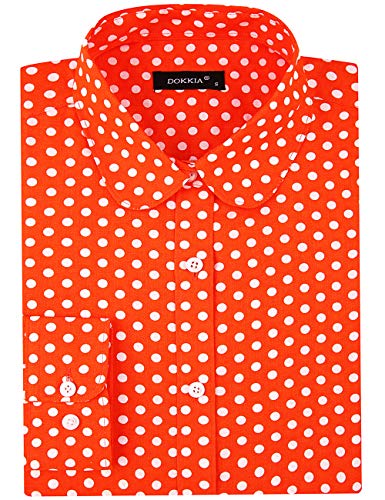 DOKKIA Women's Tops Feminine Long Sleeve Polka Dot Plaid Button Down Work Dress Blouses Shirts (Medium, Polka Dot Orange White) ()