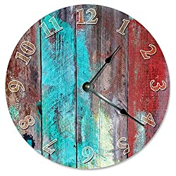Large 10.5 Wall Clock Decorative Round Wall Clock Home Decor Novelty Clock BLUE RED TAN WOOD PAINT
