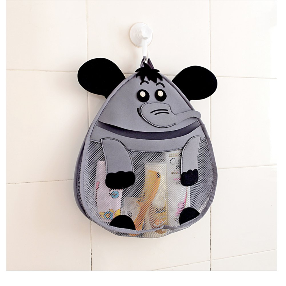 OWNFUN Bath Toy Animal Organizer - Bathroom Toy Mesh Net - Baby Toy Storage Holder with Heavy Duty Strong Suction Cup - Bathtub Shower Caddy Bag for kids & Toddlers, Mold Resistant, Elephant