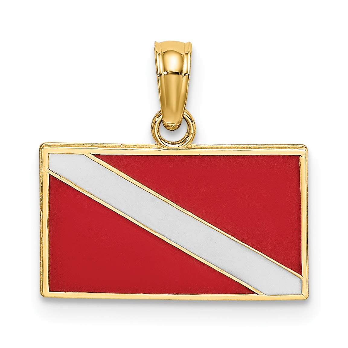 14k Yellow Gold Red and White Scuba Diver Down Flag Pendant 9x15mm by Jewelry Stores Network