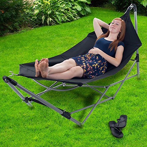 amazon     stalwart portable hammock with frame stand and carrying bag black   garden  u0026 outdoor amazon     stalwart portable hammock with frame stand and      rh   amazon