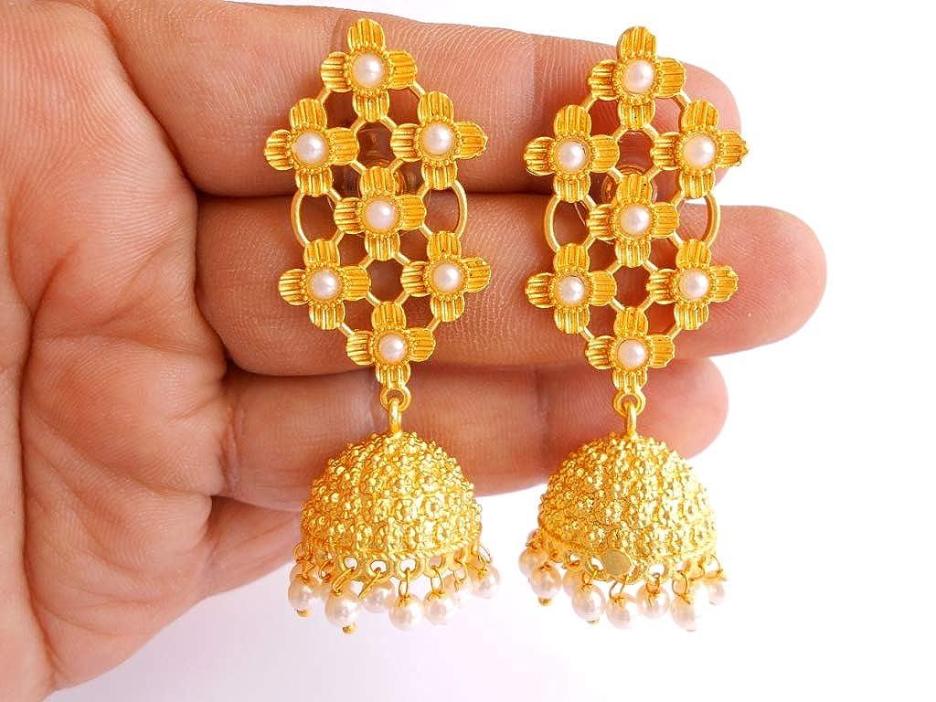 Ethnic Handmade Golden Plated Semi Precious Stone Beads Jhumka Jhumki Earring 0910/_11